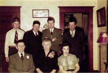 Roland, Charles Reinhardt, Donald, Wilfred William, Charles Otto, Anna and Gloria Gottsch Miller